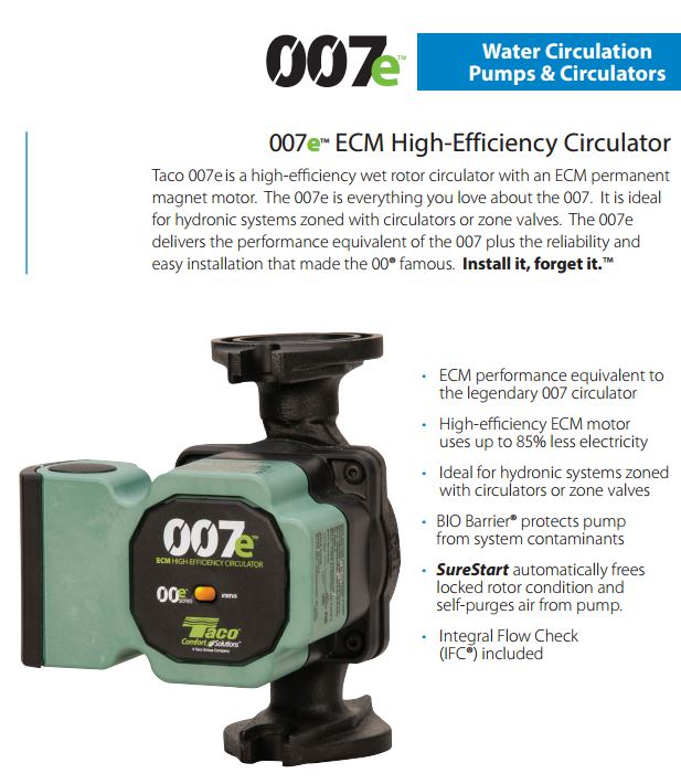 taco 007e f4 ecm high efficiency circulator 4 bolt universal flange ebay